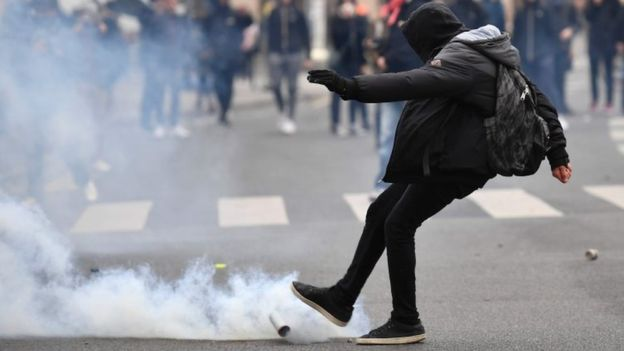 France: Teargas used against students backing three-month strike