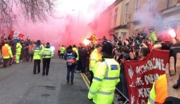 Liverpool fans bombard Man City bus with bottles