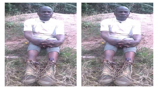 Ambazonian fighters abduct policeman, release picture with chained legs