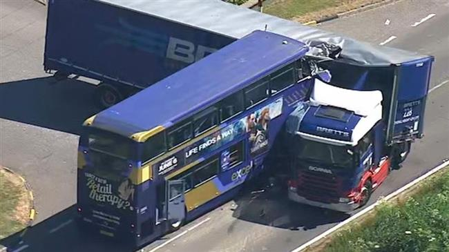 UK: Two dead, 18 injured in bus-lorry crash