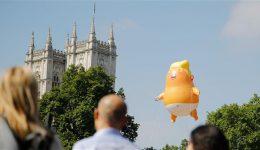 Snarling orange 'Trump baby' blimp flies outside British parliament