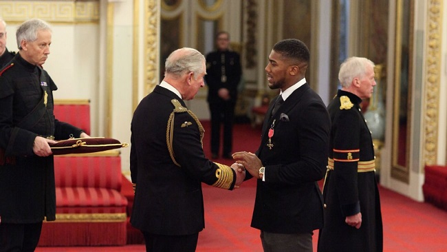Buckingham Palace: Anthony Joshua honoured by Prince Charles, receives OBE