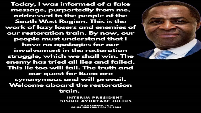 President Sisiku Ayuk Tabe says Southern Cameroons resistance will force French Cameroun troops out of Ambazonia