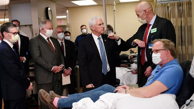 US Vice President tours hospital without Covid-19 mask despite being told to wear one