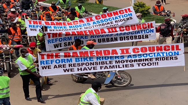 French Cameroun-funded bike riders group organises protest in Bamenda