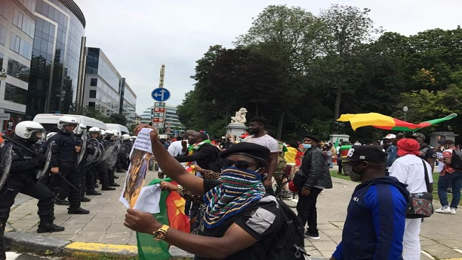 Brussels: Belgian police fire tear gas at anti Biya protesters