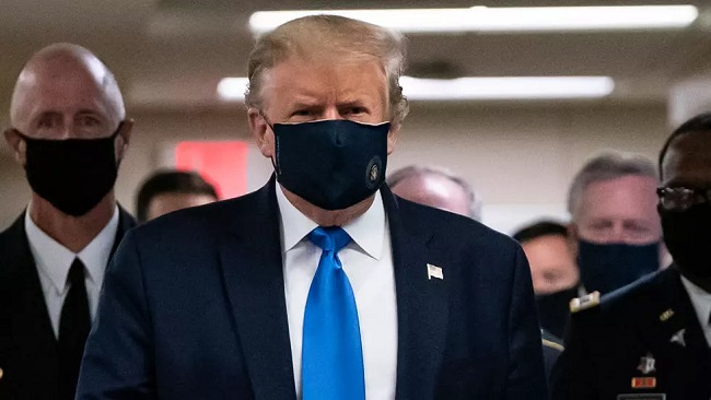 US: Trump seen wearing face mask in public for first time