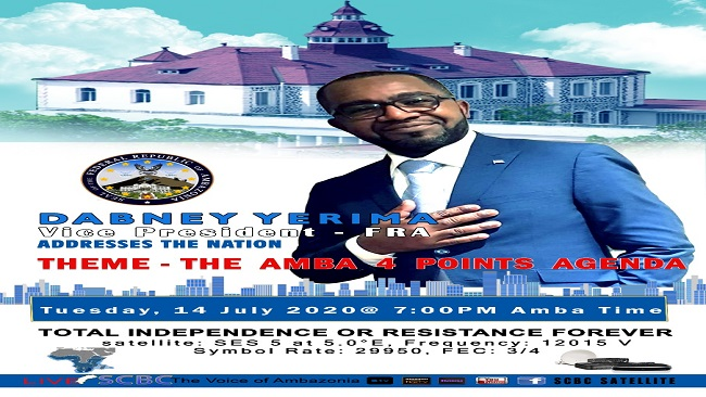 Ambazonia: Vice President Yerima to address the nation today at 7pm