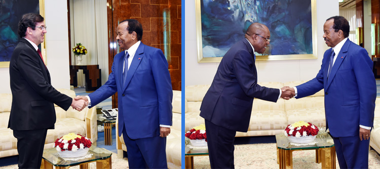 Yaounde: French Ambassador and Angolan Foreign Affairs Minister at Unity Palace