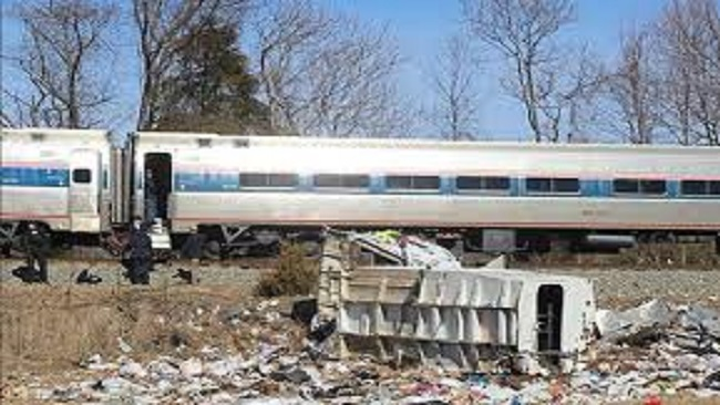 Train carrying Republican lawmakers hits truck, leaving one dead