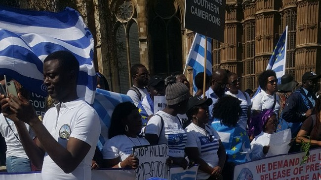 Police called as Ambazonia protester attempts to set herself on fire outside Cameroon High Commission in London