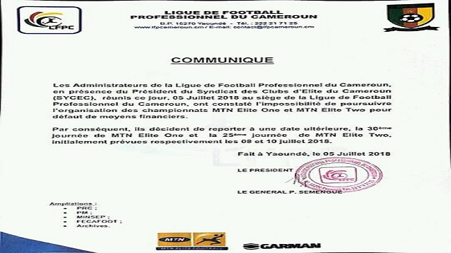 Southern Cameroons Crisis: Cameroon's top-flight football championship suspended