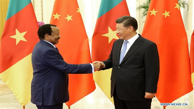 Chinese leader exchanges congratulations with Biya on 50th anniversary of diplomatic ties