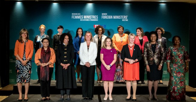 Foreign ministers vow to champion women's rights at first all-female summit