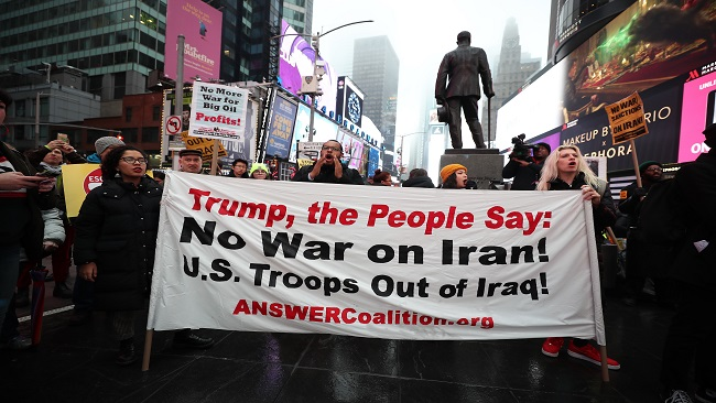 Anti-war activists in New York City protest against Trump's Middle East policy