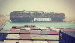 Massive cargo ship turns sideways in Suez Canal, blocking all traffic