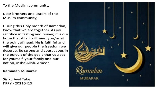 Federal Republic of Ambazonia: Leader welcomes Ramadan with special message
