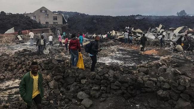 Lava halts on edge of DR Congo's main city after volcanic eruption, thousands flee
