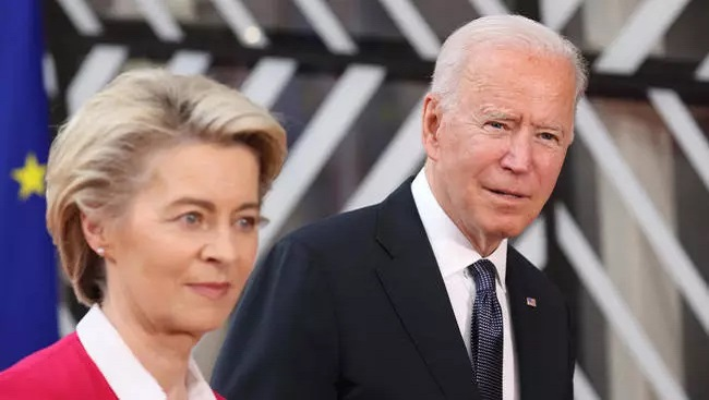 Biden seeks to ease trade tensions, rally support at EU talks ahead of Putin meeting