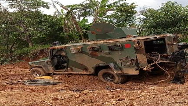 Southern Cameroons Crisis: Bui Warriors destroy Cameroon gov't military vehicles and weapons